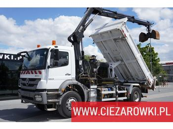 MERCEDES-BENZ Axor 1833 , E5 , boardmatic , 3-side tipper , Crane Hiab 122 - самосвал камион
